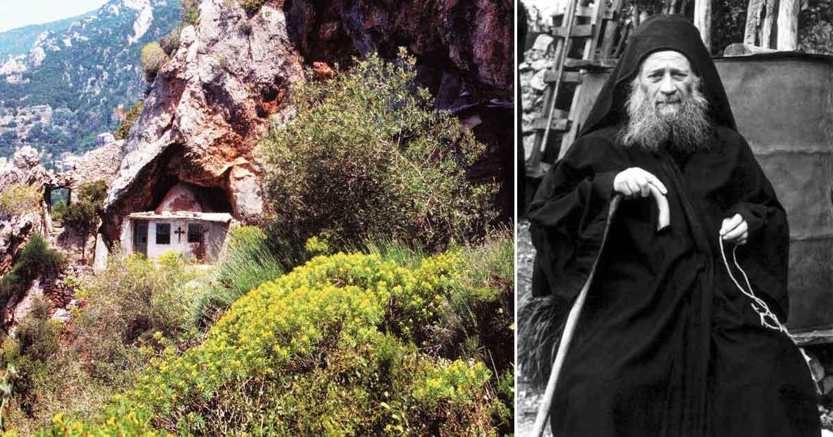 Cuviosul Iosif și bisericuța închinată Sfântului Ioan Botezătorul, aflată lângă peșterile de la Schitul Sfânta Ana Mică, unde vrednicul de pomenire Stareț a viețuit împreună cu sinodia sa vreme de 14 ani